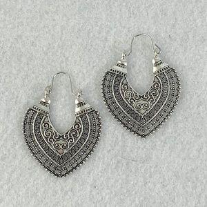 Heart shaped filigree hoop earrings
